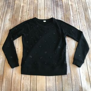 NWOT J.Crew Black Beaded Sweater